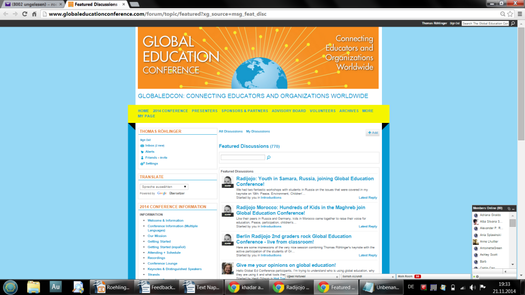 Screenshot Global Education Conference 2014 Kids in  Russia Morocco Berlin involved